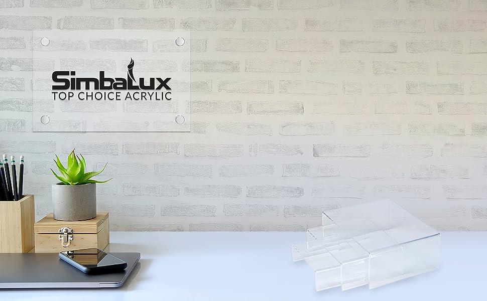 Simbalux acrylic display risers low profile medium square clear transparent decorative desktop