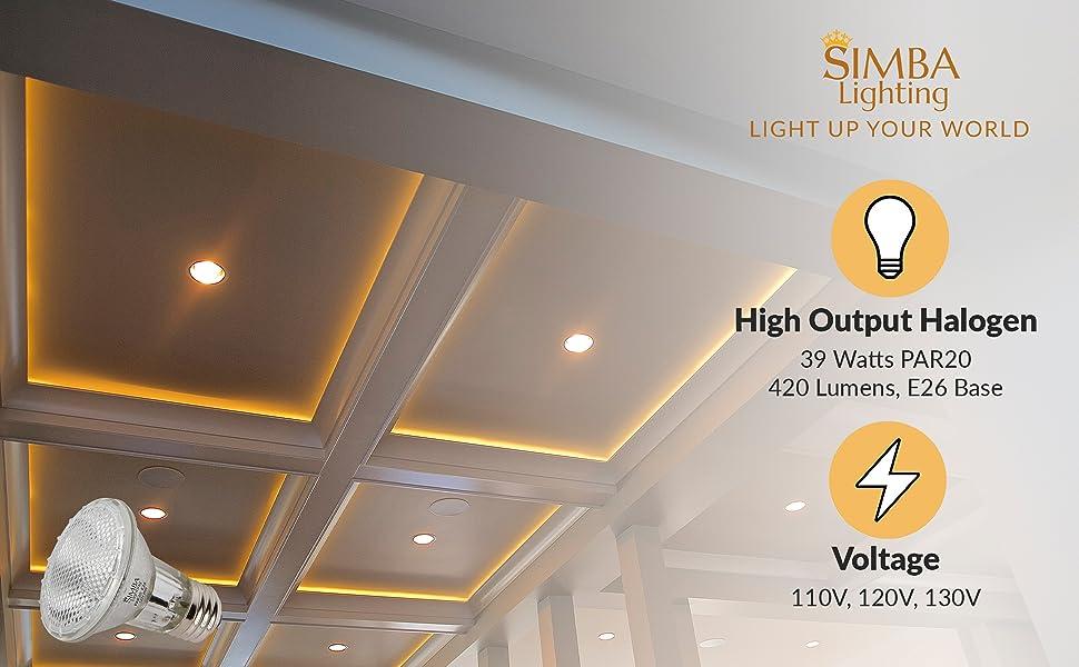 Simba Lighting halogen par20 par 20 e26 standard medium screw base 39w 40w 50w 120v 420 lumens