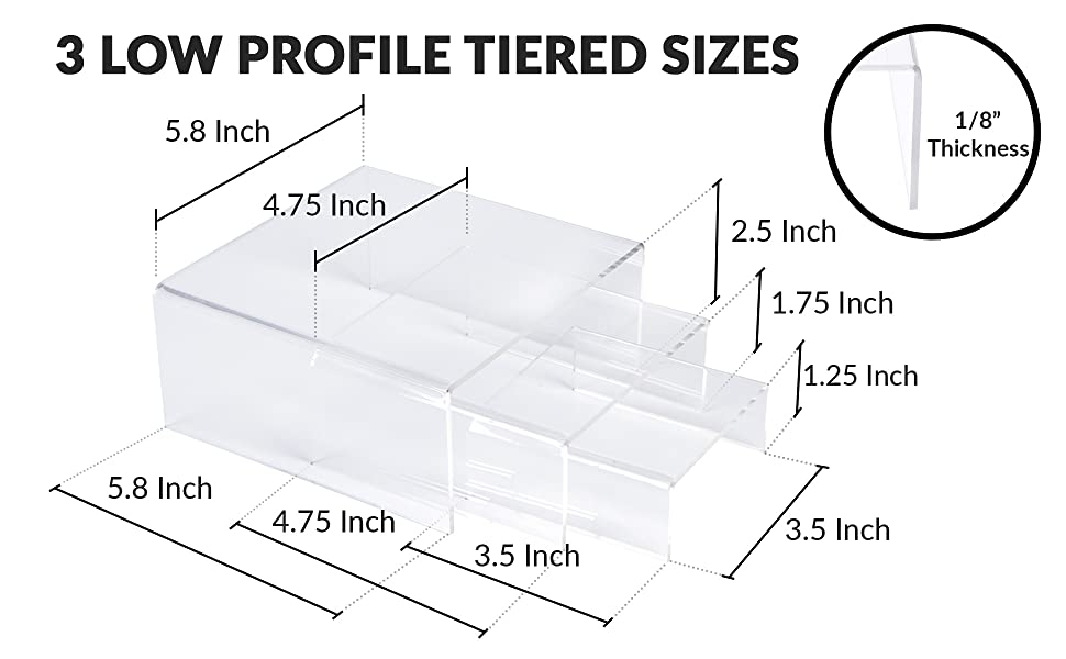 acrylic display risers low profile medium square clear dimensions length width height thickness