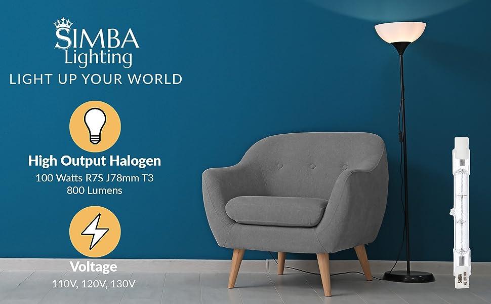Simba Lighting halogen r7s t3 type j j78 double ended 100 watt 100w 110v 120v 130v 800 lumens