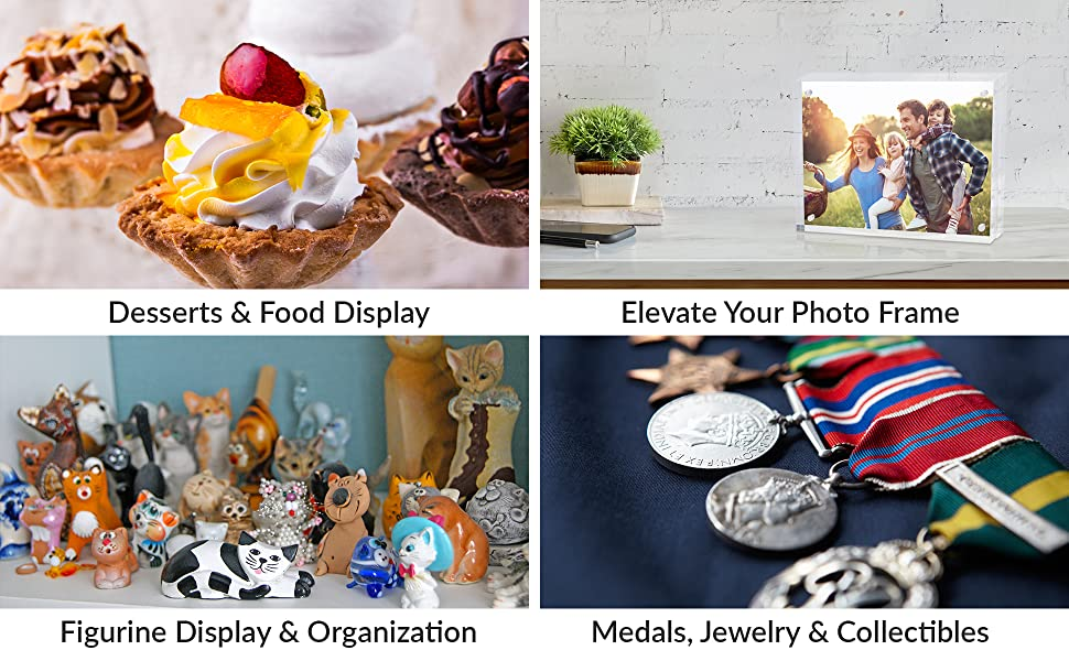 acrylic display risers for desserts food photo frame figurine organization medals jewelry collectio