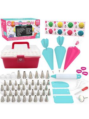 Cakebe 68 pcs Cake Decorating Kit - New Baking Supplies - Cookie Decorating Kit