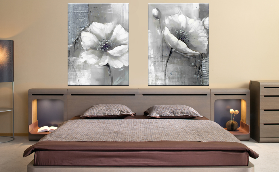 modern artwork for living room. Modern Artwork Giclee Canvas Prints White and Grey Flowers Pictures  Paintings on Wall Art Ready to Hang for Living Room Bedroom Home Decorations Amazon com YIMEI