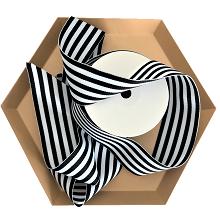 Black and White Striped Grosgrain Ribbon 1.5 Inch by Urban Vintage LA