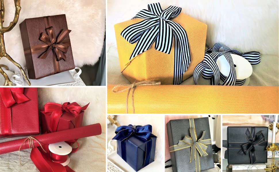 6f1e12c3b816 Choose from Our Collection of Faux Leather Gift Wrap Paper in Various  Colors and Pair with Our Grosgrain Ribbon to Finish the Look.