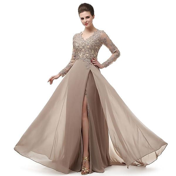 a07f1292417 Amazon.com  V Neck Prom Dresses Beading Chiffo Party Evening Elegant ...
