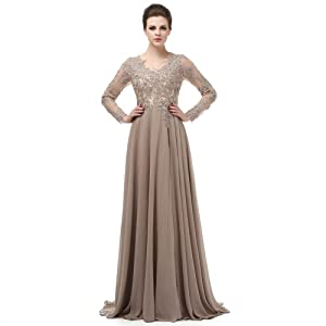 00eaaab2feb Amazon.com  V Neck Prom Dresses Beading Chiffo Party Evening Elegant ...