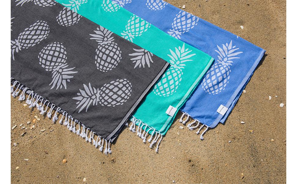 Mint Green and White Pineapple Print Turkish Peshtemal Towel for Bath or Beach