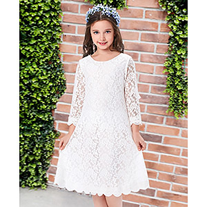 80814545ce77 Amazon.com  GRACE KARIN Girls Shift Flower Lace Dresses with Sleeves ...