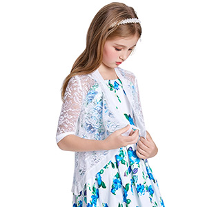 Danna Belle Little Girls Long Sleeve Lace Bolero Cardigan Shrug
