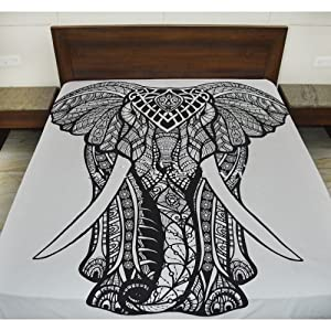 Amazon.com: Queen Black and White Elephant Tapestry wall