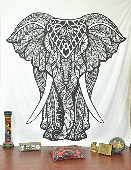 Amazon Black And White Tapestries Elephant Tapestry Hippie