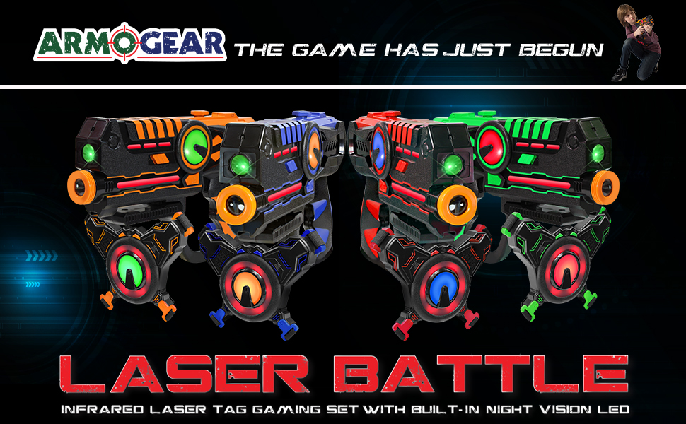 ArmoGear Infrared Laser Tag Blasters and Vests - Laser Battle Mega Pack Set  of 4 - Infrared 0 9mW