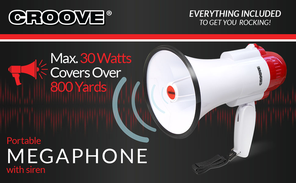 Coaches' & Referees' Gear Accessories 30 Watt Powerful and Lightweight Croove 733 Megaphone Bullhorn With Siren