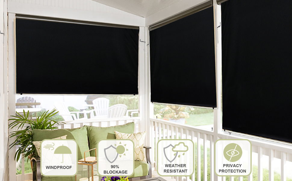 RYB HOME Outdoor Patio Shades Wide 4 ft by Long 6 ft Blackout Curtain Liner Match with Roller Blinds Inside Mount Self-Adhesive Strip Cordless Waterproof Weather Resistant Sunlight Block Black