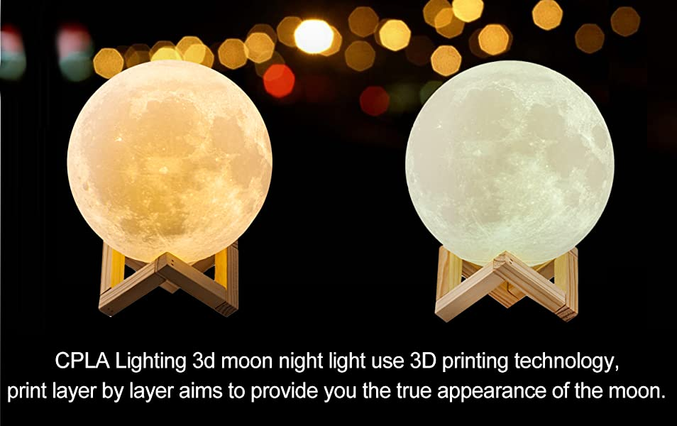 Amazon Com Cpla Lighting Night Light Led 3d Printing Moon Lamp Lunar Lamp Dimmable Touch Control Brightness 3000k 6000k With Usb Charging