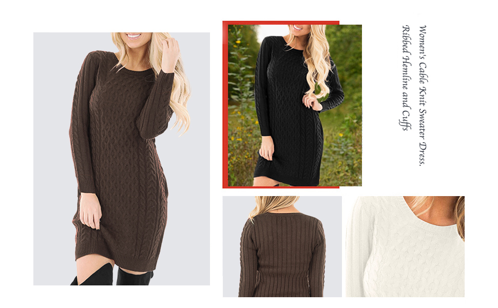 7863ff73abe Spadehill Women s Cable Knit Long Sleeve Winter Sweater Dress at ...