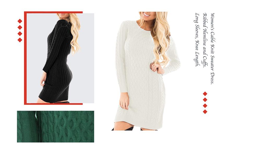 a768447df95 Spadehill Women's Cable Knit Long Sleeve Winter Sweater Dress