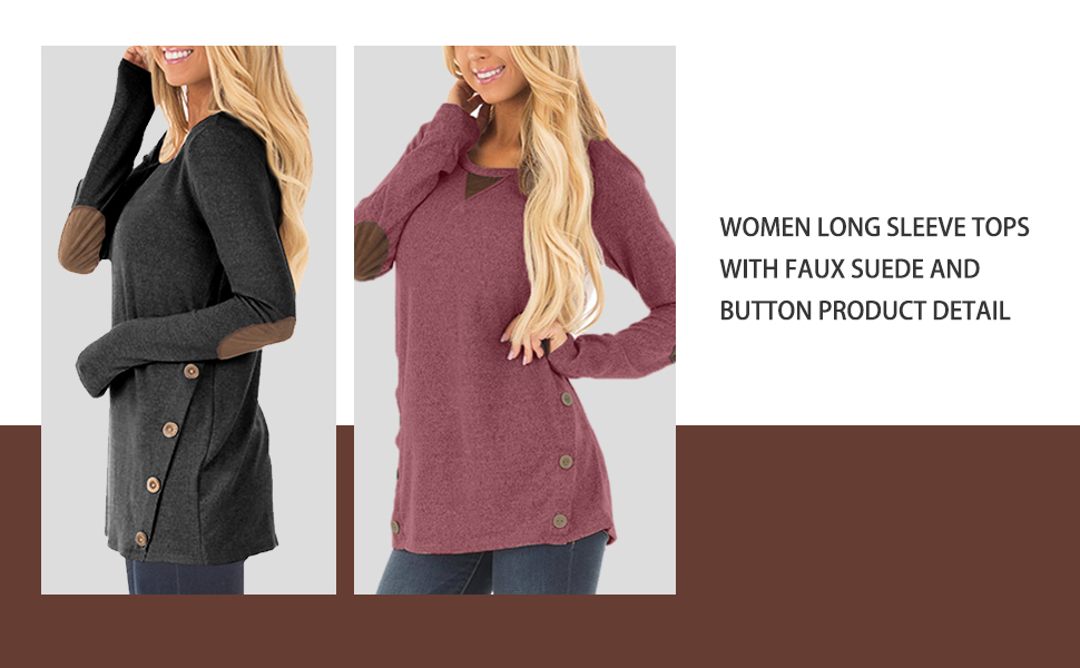 Spadehill Women Long Sleeve Tunic Tops with Faux Suede Elbow Patches and Button