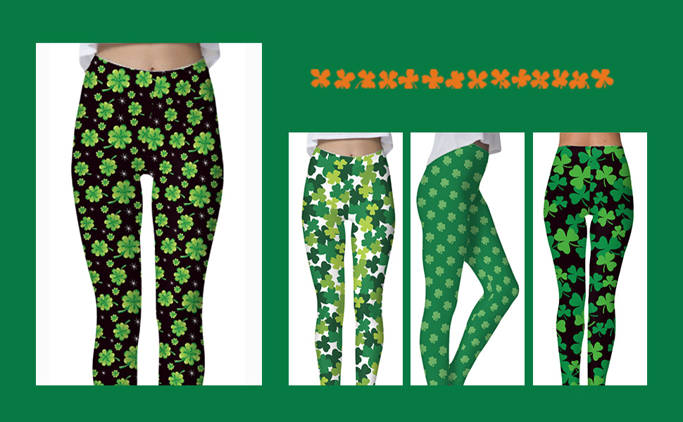 5ca9f04224d05 Spadehill Women's St. Patrick's Day Irish Green Clover Stretchy Leggings