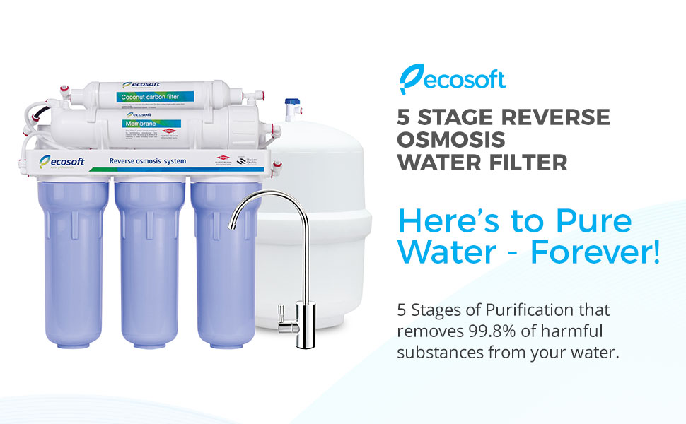 1-2-3 Stage Ecosoft Reverse Osmosis 5 Stage Replacement Filter Cartridges for Under Sink RO Water Purifier CPV3ECOEXP