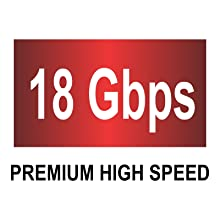 Supports Premium High Speed 18 Gbps allowing for all HDMI 2.0 features such as 4K at 60Hz.