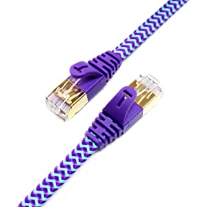 CAT7 10 Gigabit Ethernet Ultra Flat Patch Cable with Nylon Braided Jacket 3 Ft Purple & Blue