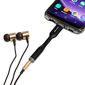 Connects to android devices for use with wired headphones and earbuds. Supports music playback, mic.