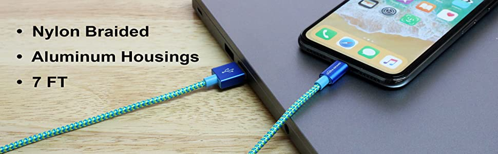 Apple MFi Certified Nylon Braided Lightning Charge Cable, flexible durable blue green 7 feet.