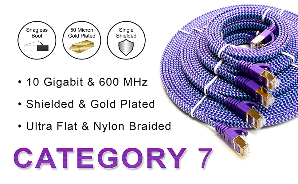 CAT7 Ethernet Cable - Ultra Flat Nylon Braided Purple Blue with Shielded twisted pairs, connectors