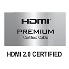 Official HDMI Premium Certified cable, 2.0 certified by an official authorized testing center.