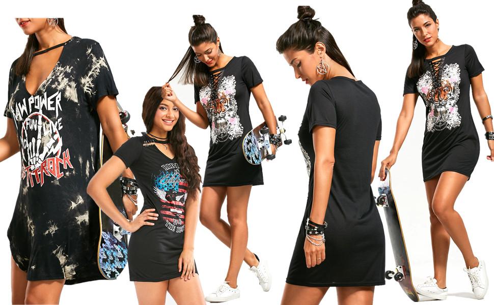omonsim women s punk rock dress short sleeve print dress punk t
