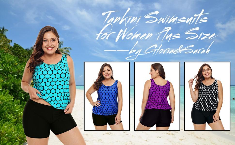 8846b16b72f Gloria Sarah Womens Plus Size Racerback Tankini Set Two Piece Swimwear with  Boyshort