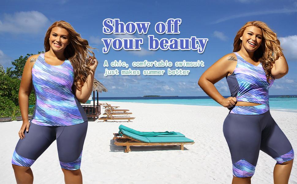63f21d08b2982 Gloria Sarah Women s Retro Oceanic Stripes Two Piece Plus Size Tankini  Swimsuit