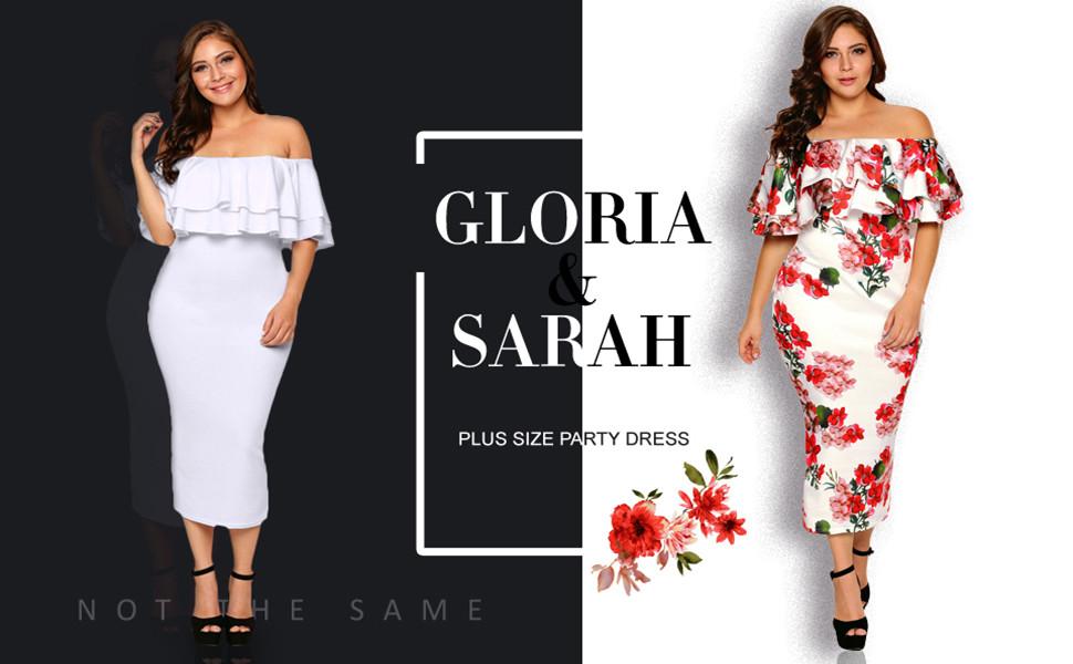 cf9c849e12d9c Gloria Sarah Women s Off Shoulder Ruffle Floral Print Plus Size Bodycon  Party Dress