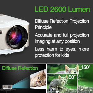 Cold LED light source produces soft&uniform diffuse reflection light, different from TVs strong light, Even if you watch the big screen for several hours, ...