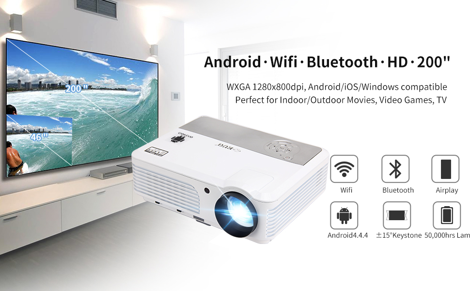 Amazon.com: EUG LED Bluetooth Video Projector 3200 Lumens Wireless ...