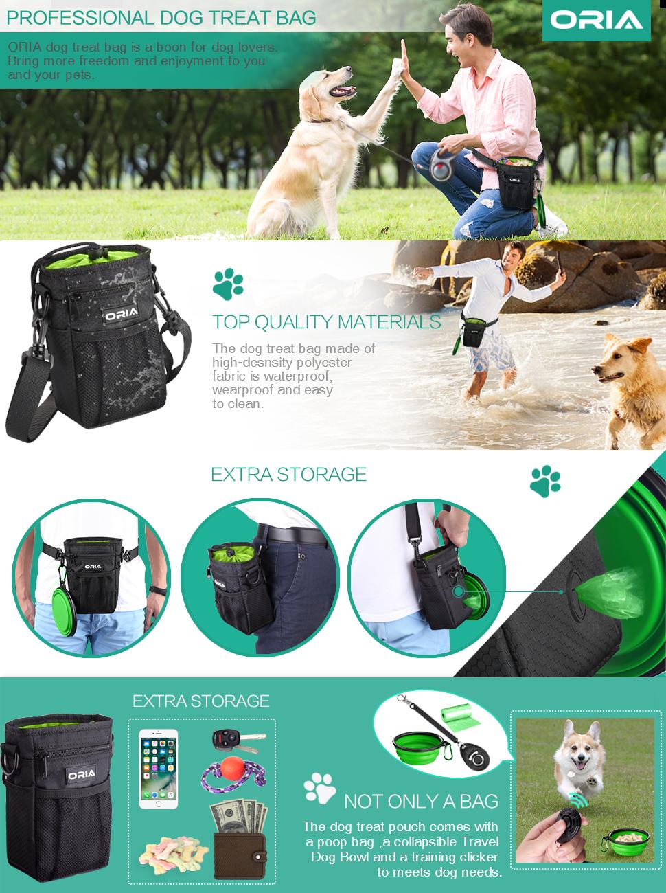 ORIA Dog Treat Bag, Dog Training Pouch, Pet Training Waist Bag