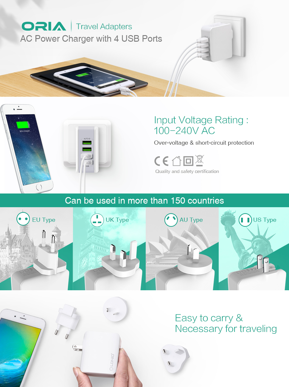 Oria Travel Charger 4 Usb Plug 44a Mobile Phone Circuit Diagram Product Description