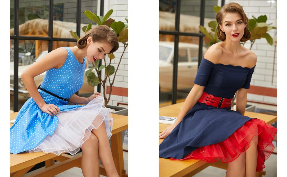 GRACE KARIN Damen 1950 Petticoat Reifr/öcke Unterrock Underskirt Crinoline f/ür Rockabilly Kleid Brautkleid
