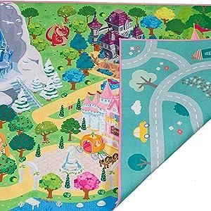 KIDS COLOUR YOUR OWN PLAYMAT,Princess /& Farm,Creative play fun for Girls /& Boys.