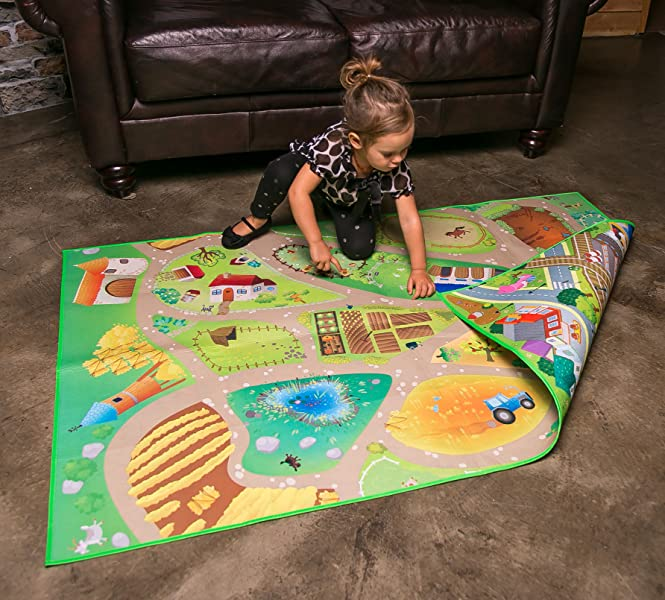 New Without Return Kids Play Mat Reversible Farm Set Soft Double Sided Toy sale