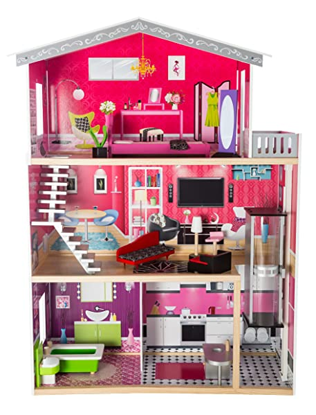 Amazon.com: MMP Living Modern wooden dollhouse and 10 furniture ...