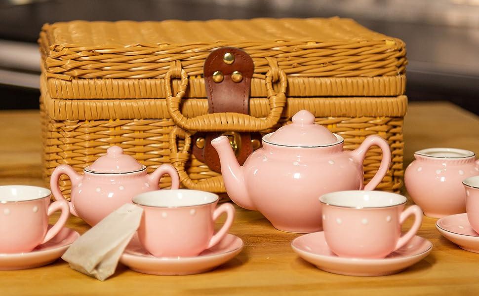 664267d3fad Children s 13 Piece Pink Porcelain Play Tea Set with wicker style basket