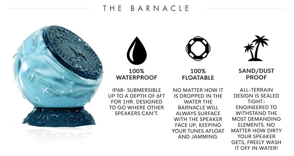 Speaqua Barnacle Waterproof Bluetooth Speaker - the Black Pearl