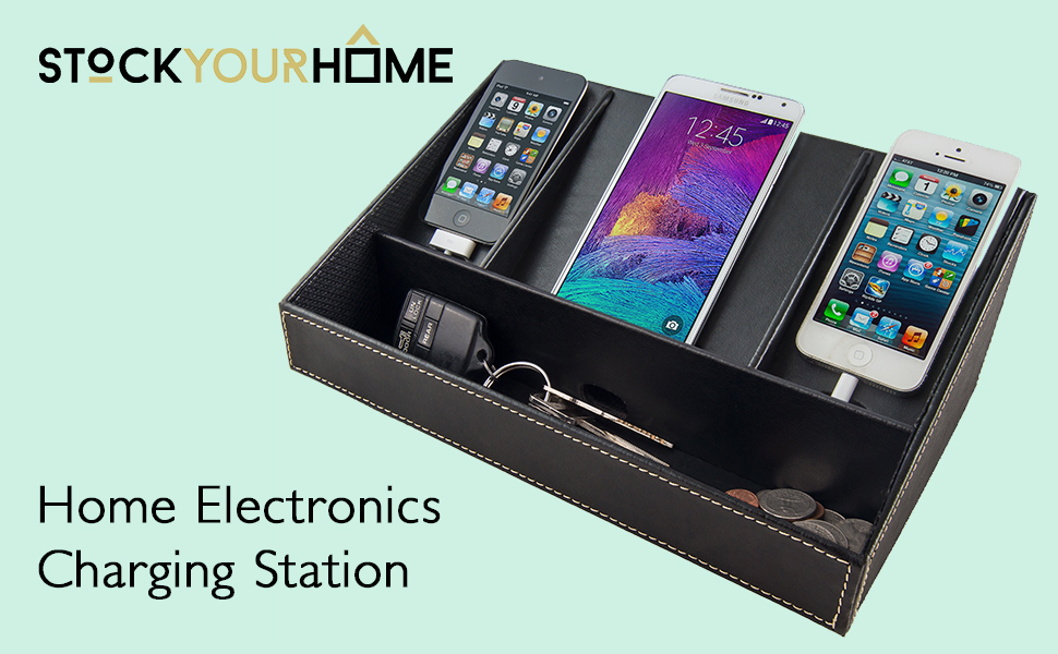 Stock Your Home Electronics Charging Station Uses Include Electronics  Organizer, Charging Dock & Cell Phone Charging Station Organizer - Black