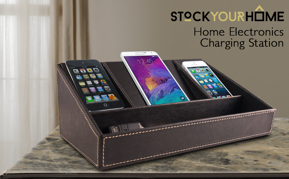 Nice Stock Your Home Electronics Charging Station Uses Include Electronics  Organizer, Charging Dock And Cell Phone Charging Station Organizer, Brown