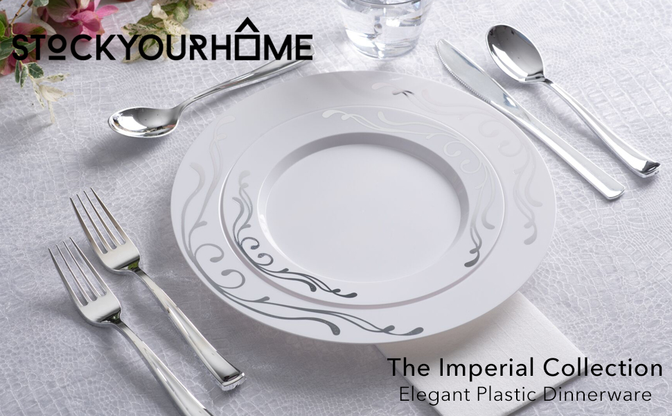 Wedding Plates and Disposable Cutlery Set - 125 Piece Silver Plastic Party  Plates and Silverware for Weddings, Receptions, Buffets - Service for 25