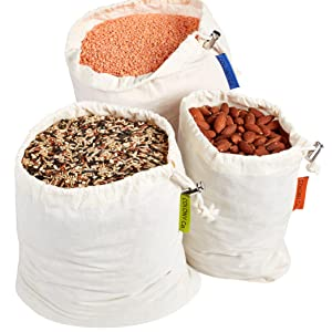 Reusable Bulk Bin Bags for Bulk Food Natural Cotton is Biodegradable Tare Weight Washable