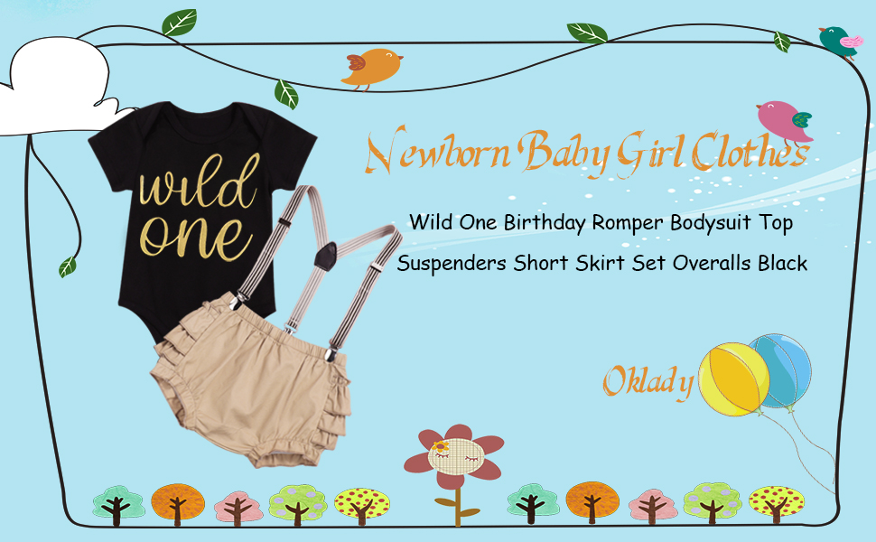 Newborn Baby Girl Clothes Wild One Romper Bodysuit Top Suspenders Ruffle Shorts Summer Outfits Set
